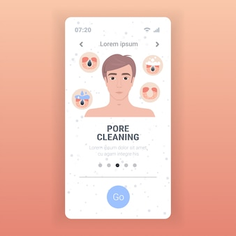 Homme, nettoyage, pore, facial, nettoyage, procédure, obstrué, figure, soin peau, traitement, étapes