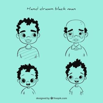 Homme noir à différents âges dans le style dessiné à la main