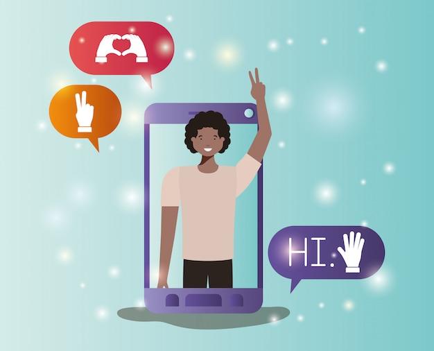 Homme noir dans un smartphone avec bulles de médias sociaux