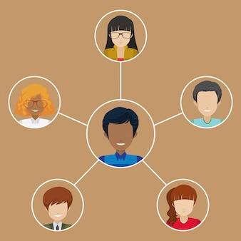 Un homme avec de nombreux réseaux