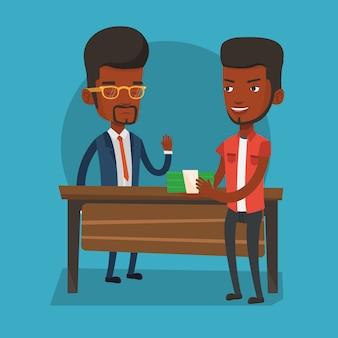 Homme non corrompu refusant de prendre un pot-de-vin.