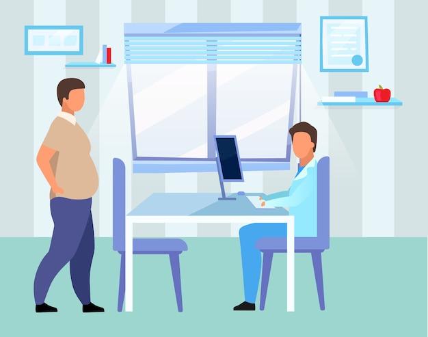 Homme obèse visitant le médecin plat. personnages de dessins animés de nutritionniste consultant adulte en surpoids. médecin de sexe masculin, diététiste examinant le patient avec un problème d'obésité à l'hôpital