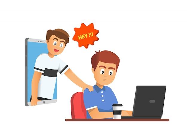 Un homme occupé à travailler devant son ordinateur portable a été soudainement appelé par son ami.