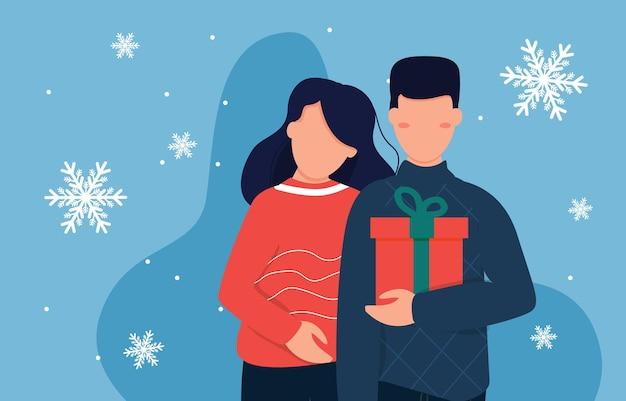 L'homme offre un cadeau à sa petite amie. joyeuse surprise de vacances de noël. journée de magasinage des personnages. homme tenant une boîte-cadeau. famille avec cadeau de noël. illustration vectorielle.