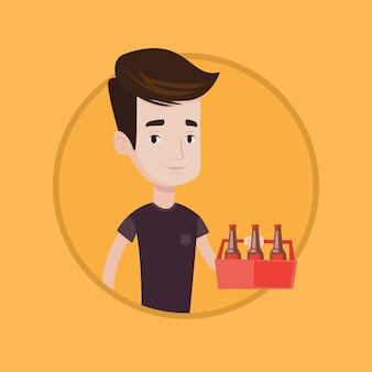 Homme avec pack d'illustration vectorielle de bière.