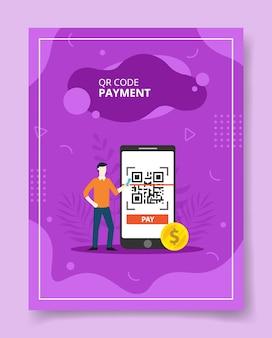 Homme de paiement de code qr se tenir près de gros smartphone avec code qr sur écran pour modèle de flyer