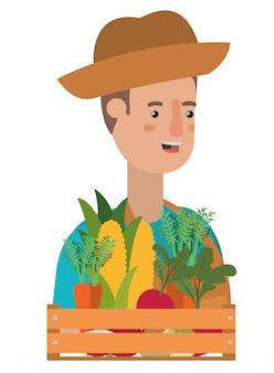 Homme avec panier en bois avec personnage avatar tag