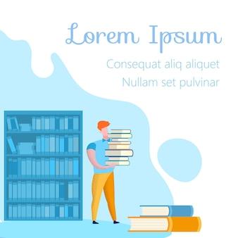 Homme en pantalon jaune avec des livres dans la bibliothèque. texte.