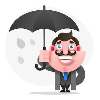 Homme avec parapluie