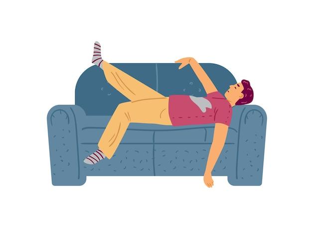Homme paresseux ou attaché dormant sur l'illustration de vecteur plat de divan d'isolement sur le blanc