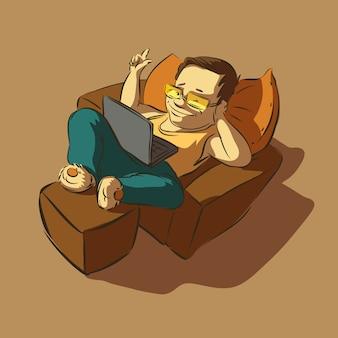 Homme paresseux avec un ordinateur portable clique sur le bouton.