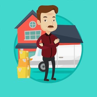 Homme passant à l'illustration vectorielle de maison.
