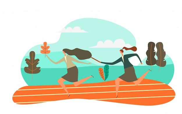 L'homme passe le relais à son collègue en course à relais