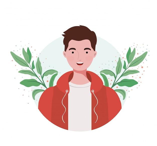 Homme avec paysage de branches et de feuilles