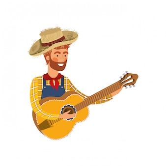 Homme de paysan avec instrument de musique