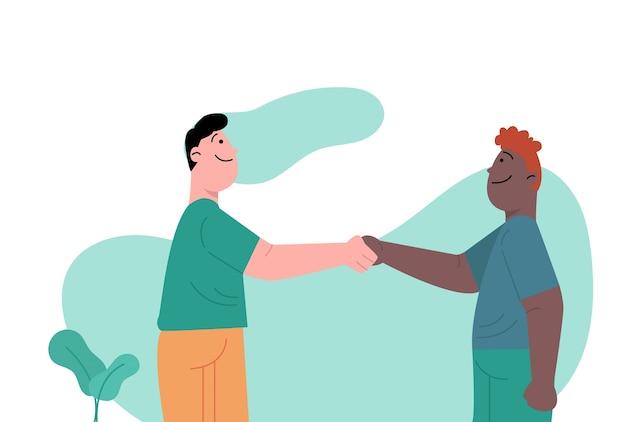 Homme avec une peau différente tenant la main pour la tolérance