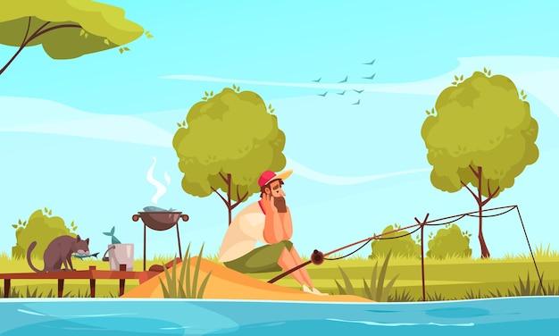 Homme pêchant sur la composition de dessin animé drôle de berge avec un chat volant du poisson dans une illustration de seau de pêcheur