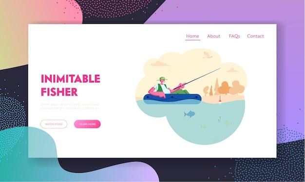 Homme de pêche en bateau sur le lac calme ou la rivière au jour d'été. détente passe-temps, pêcheur assis avec une tige ayant une bonne prise, page de destination du site web de loisirs