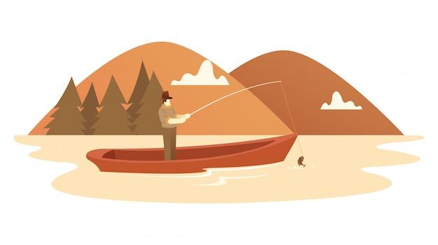 Un homme pêche avec une belle montagne