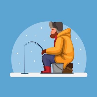 Homme pêche sur glace sur la rivière gelée dans le concept de saison d'hiver en illustration de dessin animé