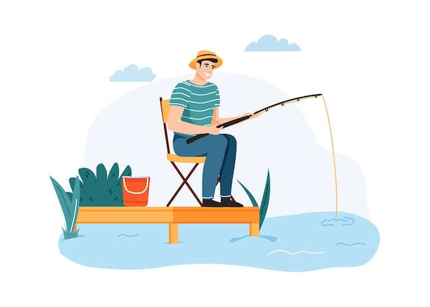 Homme de pêche. guy assis sur une chaise avec canne à pêche en attente de poisson, passe-temps d'été en plein air.