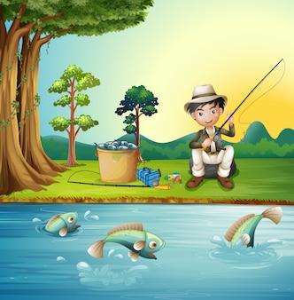 Homme pêche par la rivière