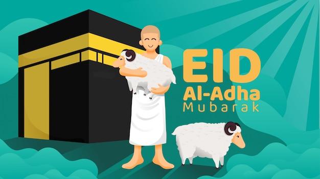 Homme de pèlerinage transportant un animal sacrificiel devant le concept d'illustration de la kaaba