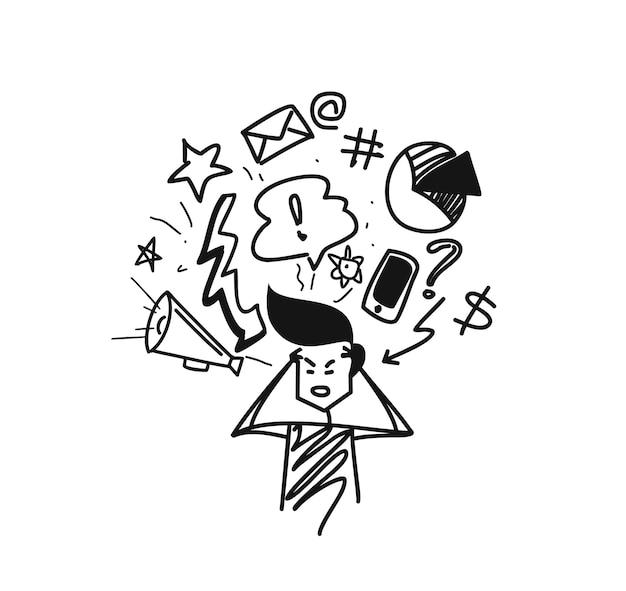 L'homme pensant concept doodles icons set, cartoon hand drawn sketch vector illustration.