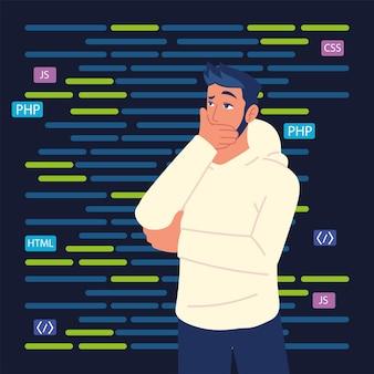 Homme pensant dans les codes de programme web