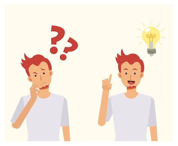 L'homme pense avec des points d'interrogation. puis faites ressortir une idée. concepts de résolution de problèmes. illustration de dessin animé.