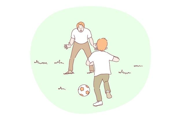 L'homme père papa entraîneur parent jouant