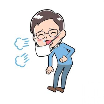 Homme de personnage de dessin animé mignon éternuements