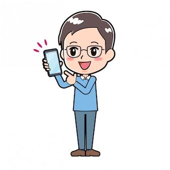 Homme de personnage de dessin animé mignon smartphone