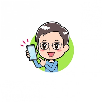 Homme de personnage de dessin animé smartphone