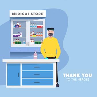 Homme pharmacien porter un masque de protection avec écran facial et une bouteille de désinfectant au comptoir en magasin médical.