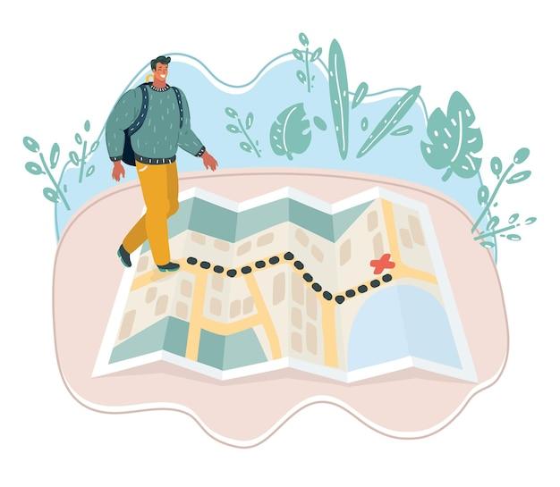 Homme piéton commun marchant sur la carte