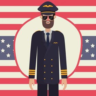 Homme pilote en fête du travail