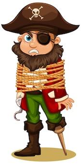 Un homme pirate ou un crochet de capitaine a obtenu une corde autour de son personnage de dessin animé de corps isolé