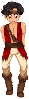 Un homme pirate avec un personnage de dessin animé de visage choqué isolé