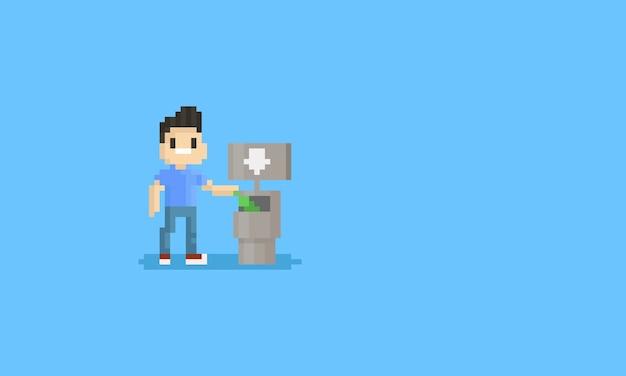 Homme pixel déposer une bouteille dans une poubelle