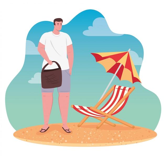 Homme à la plage, mec heureux avec chaise de plage et parasol, saison des vacances d'été