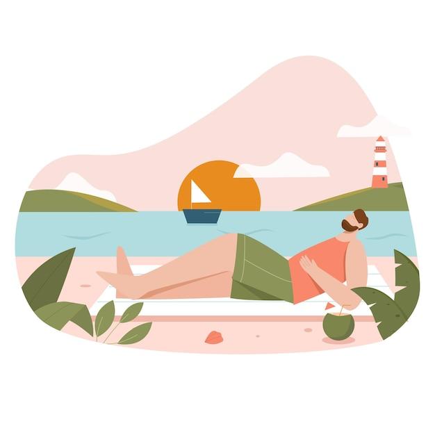 Homme, à, plage, plat, illustration