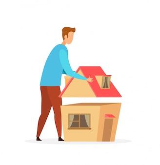 Homme planification maison modèle plat vector illustration