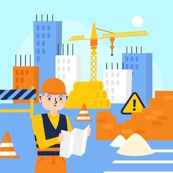 Homme plat organique travaillant sur la construction