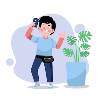 Homme plat prenant des photos avec un smartphone