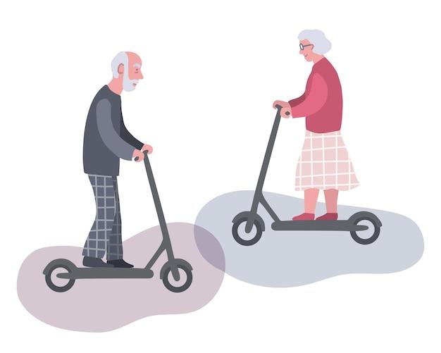 Homme plus âgé et femme chevauchant des scooters électriques concept de vie urbaine pour personnes âgées actives