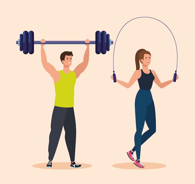 Homme avec poids et femme sautant à la corde à l'activité sportive