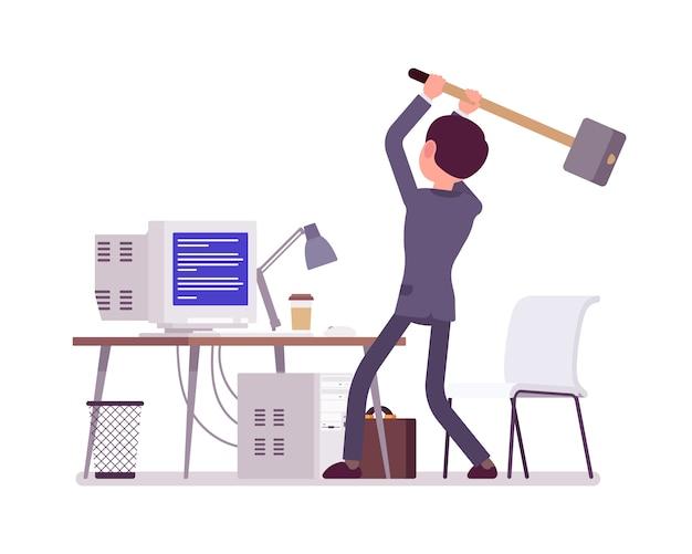 Homme sur le point de planter l'ordinateur avec l'écran bleu de la mort