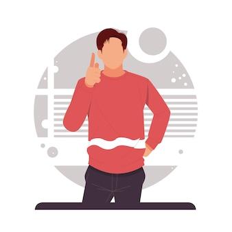 Homme pointant le doigt vers le haut annoncer le produit au design plat