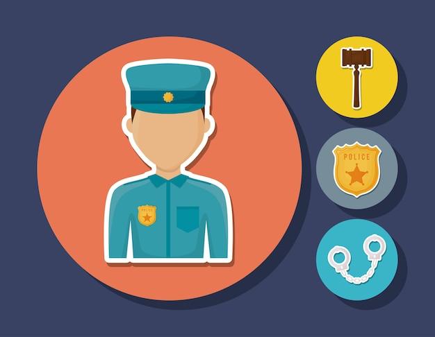 Homme de police avatar et droit et icônes connexes de la justice sur les cercles et fond bleu